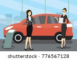sale of a new red car cartoon... | Shutterstock .eps vector #776567128
