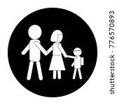 simple family icon in black and ...