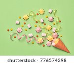 ice cream cone with candies... | Shutterstock . vector #776574298
