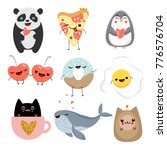 set of cute animals in kawaii... | Shutterstock .eps vector #776576704