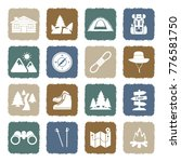 hiking icons. grunge color flat ... | Shutterstock .eps vector #776581750