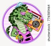 tyrannosaurus rex with boombox...   Shutterstock .eps vector #776585464