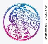 tyrannosaurus rex with boombox...   Shutterstock .eps vector #776585734