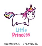 cute unicorn with rainbow color ... | Shutterstock . vector #776590756