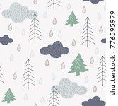 pretty forest seamless pattern... | Shutterstock .eps vector #776595979