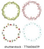 christmas wreath  vector | Shutterstock .eps vector #776606659