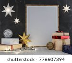 mock up poster in the christmas ... | Shutterstock . vector #776607394