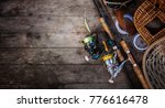 fishing tackle background. | Shutterstock . vector #776616478