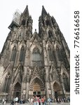 Small photo of COLOGNE, ITALY - SEPTEMBER 11, 2016: Unidentified people and the view of the Roman Catholic Gothic Cathedral Kolner Dom, World Heritage - North Rhine Westphalia region, Cologne - Germany