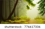 Misty Forest Landscape...