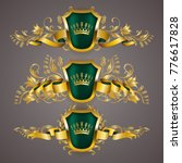 set of golden royal shields... | Shutterstock .eps vector #776617828