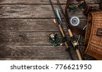 fishing tackle background. | Shutterstock . vector #776621950