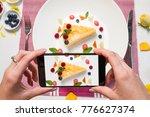 food blogger dessert smartphone ... | Shutterstock . vector #776627374