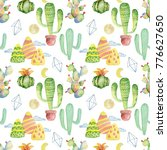 watercolor cactus seamless... | Shutterstock . vector #776627650