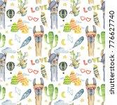 watercolor llama  alpaca and... | Shutterstock . vector #776627740