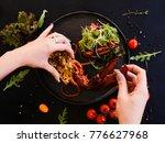 culinary recipe of stuffed...   Shutterstock . vector #776627968