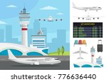 airport and transportation... | Shutterstock .eps vector #776636440