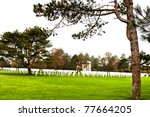 Military memorial and cemetery in Normandy france - stock photo
