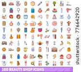 100 beauty shop icons set.... | Shutterstock .eps vector #776642920