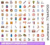 100 beauty shop icons set.... | Shutterstock .eps vector #776642920