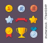 pixel art 8 bit vector awards... | Shutterstock .eps vector #776643349