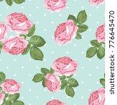 shabby chic rose seamless... | Shutterstock .eps vector #776645470