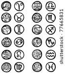 zodiac symbols rings in outline.   Shutterstock . vector #77665831