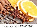 cinnamon with orange fruit... | Shutterstock . vector #776659246