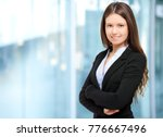 smiling young businesswoman... | Shutterstock . vector #776667496