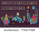 young people in library or... | Shutterstock .eps vector #776677480