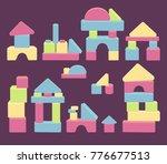 wooden blocks game. colourful... | Shutterstock .eps vector #776677513