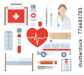 medical icon set in flat style... | Shutterstock .eps vector #776683783