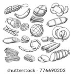 sausages sketch. vintage... | Shutterstock .eps vector #776690203
