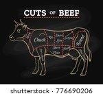 cow meat steak diagram. cow... | Shutterstock .eps vector #776690206