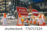 inner city road closed by...   Shutterstock . vector #776717224