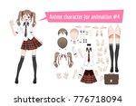 anime manga schoolgirl in a red ... | Shutterstock .eps vector #776718094