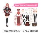 anime manga schoolgirl in a red ... | Shutterstock .eps vector #776718100