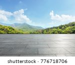 empty square floor and green... | Shutterstock . vector #776718706