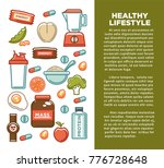 fitness food poster of sports... | Shutterstock .eps vector #776728648