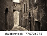 street view with old buildings... | Shutterstock . vector #776736778