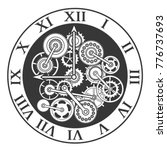 cartoon silhouette black clock... | Shutterstock .eps vector #776737693