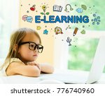 e learning text with little... | Shutterstock . vector #776740960