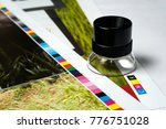 magnifying loupe on the edge of ... | Shutterstock . vector #776751028
