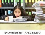 work hard  lot of work  stacks... | Shutterstock . vector #776755390
