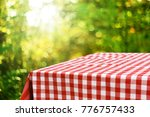 empty checkered table background | Shutterstock . vector #776757433
