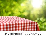 empty checkered table background | Shutterstock . vector #776757436
