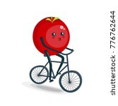 tomato riding bike cartoon... | Shutterstock . vector #776762644