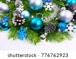christmas garland with silver... | Shutterstock . vector #776762923