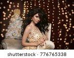 glamour fashion brunette girl...   Shutterstock . vector #776765338