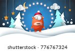 winter landscape. funny  cute... | Shutterstock .eps vector #776767324